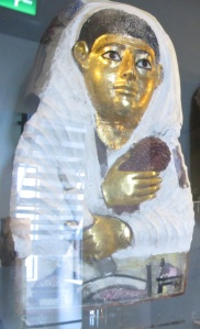 Gilded mummy case of Dion Manchester Museum 2179, Ancient Worlds Gallery